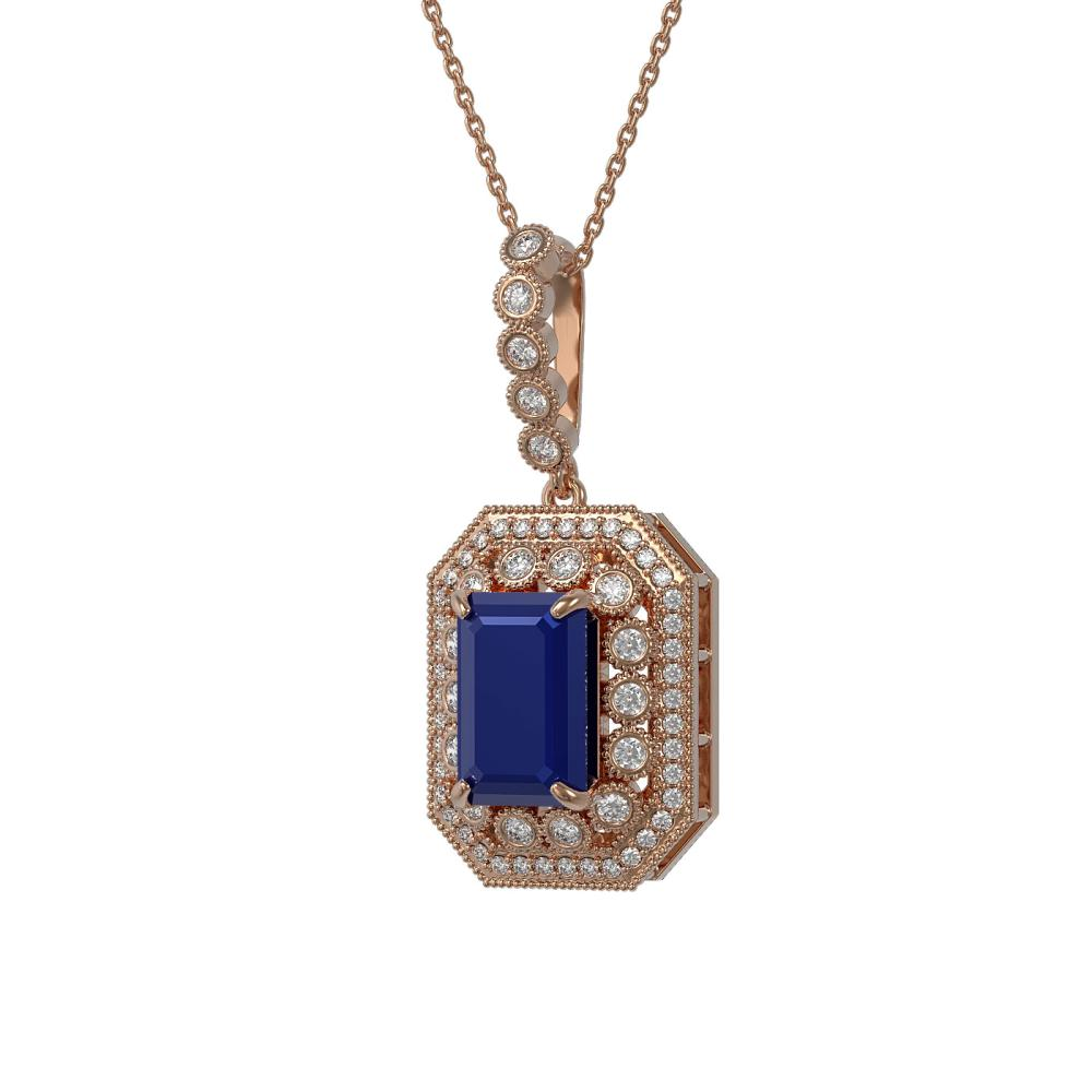7.18 ctw Sapphire & Diamond Necklace 14K Rose Gold - REF-159M3F - SKU:43443