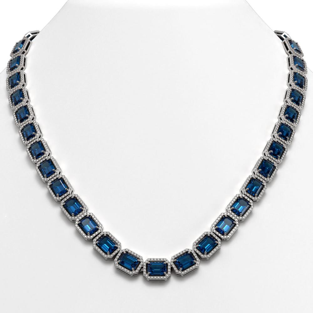 56.69 ctw London Topaz & Diamond Halo Necklace 10K White Gold - REF-700K7W - SKU:41366