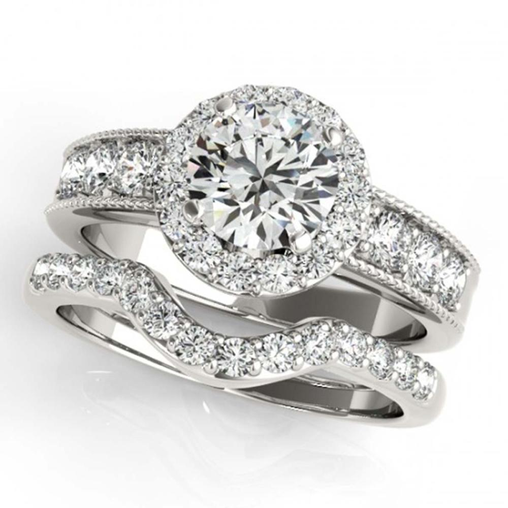2.46 ctw VS/SI Diamond 2pc Wedding Set Halo 14K White Gold - REF-416Y7X - SKU:31316