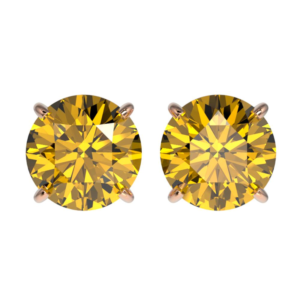 2.57 ctw Intense Yellow Diamond Stud Earrings 10K Rose Gold - REF-427W5H - SKU:36689