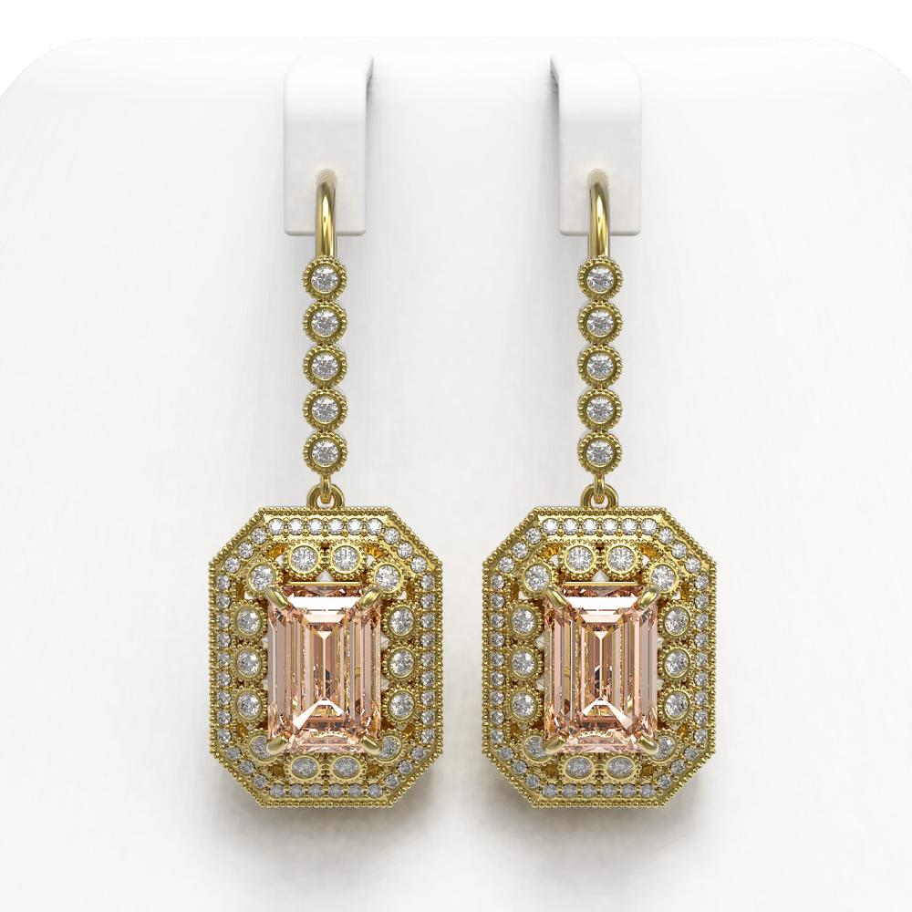 12.1 ctw Morganite & Diamond Earrings 14K Yellow Gold - REF-410R4K - SKU:43411
