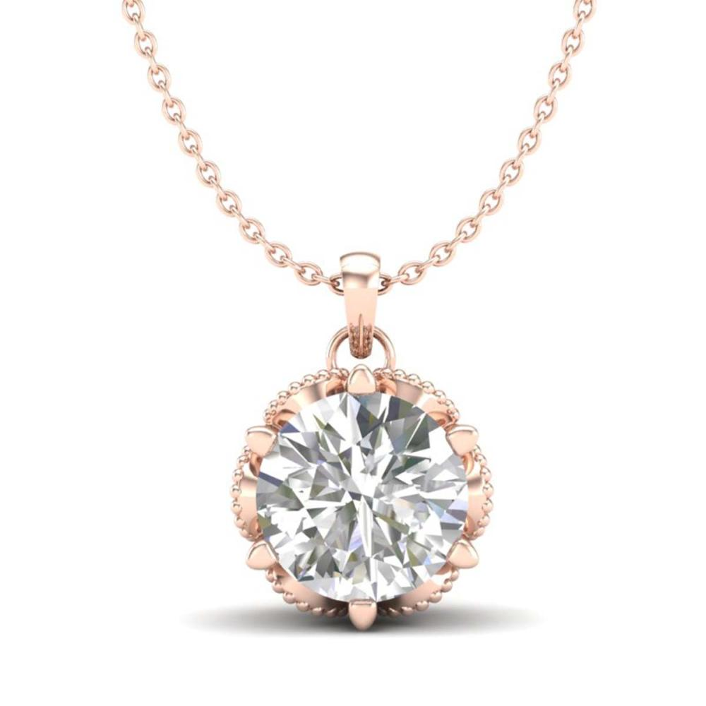 1.36 ctw VS/SI Diamond Solitaire Art Deco Necklace 18K Rose Gold - REF-361Y8X - SKU:37245