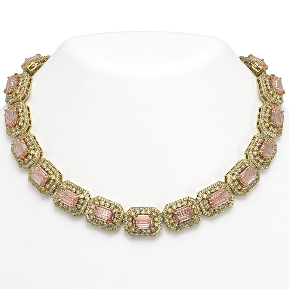 117.15 ctw Morganite & Diamond Necklace 14K Yellow Gold - REF-4065F3N - SKU:43483