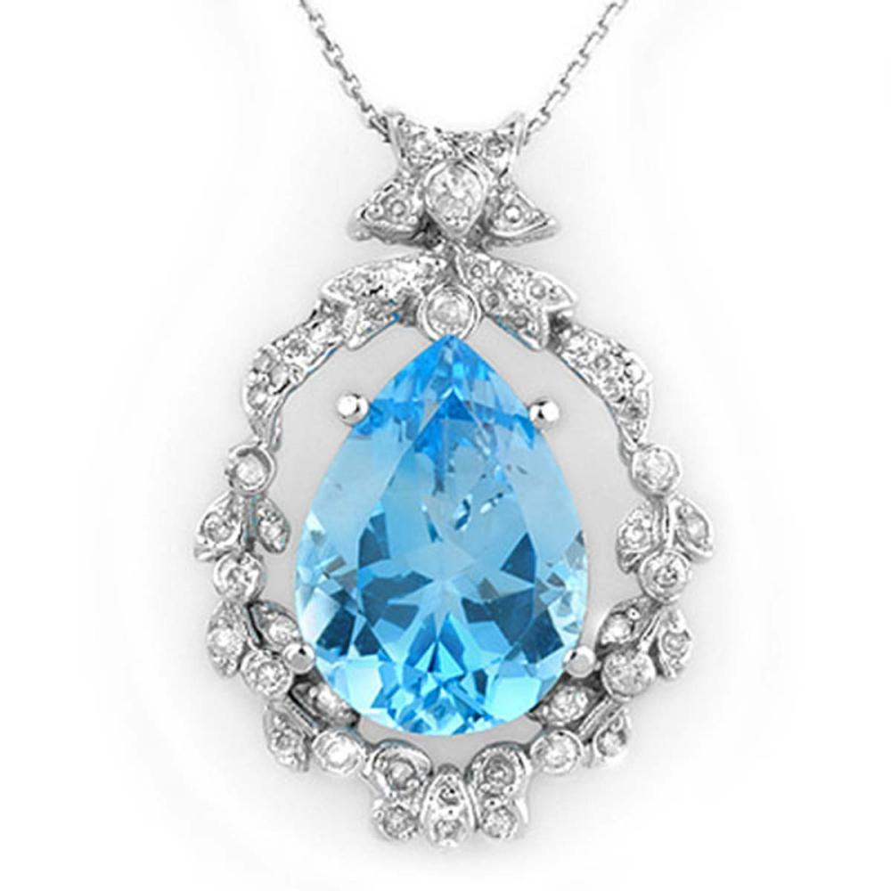 13.84 ctw Blue Topaz & Diamond Necklace 14K White Gold - REF-109F6N - SKU:10084