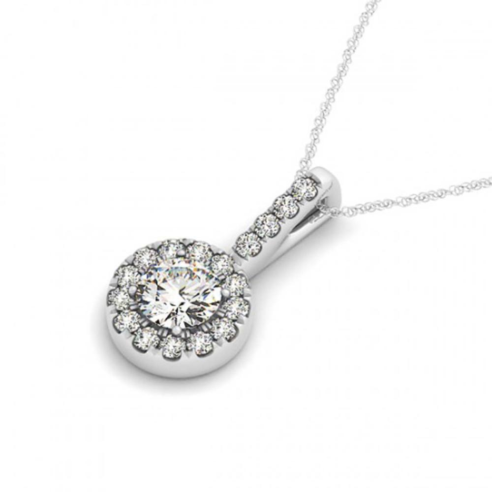 0.55 ctw SI Diamond Halo Necklace 14K White Gold - REF-56Y5X - SKU:30025