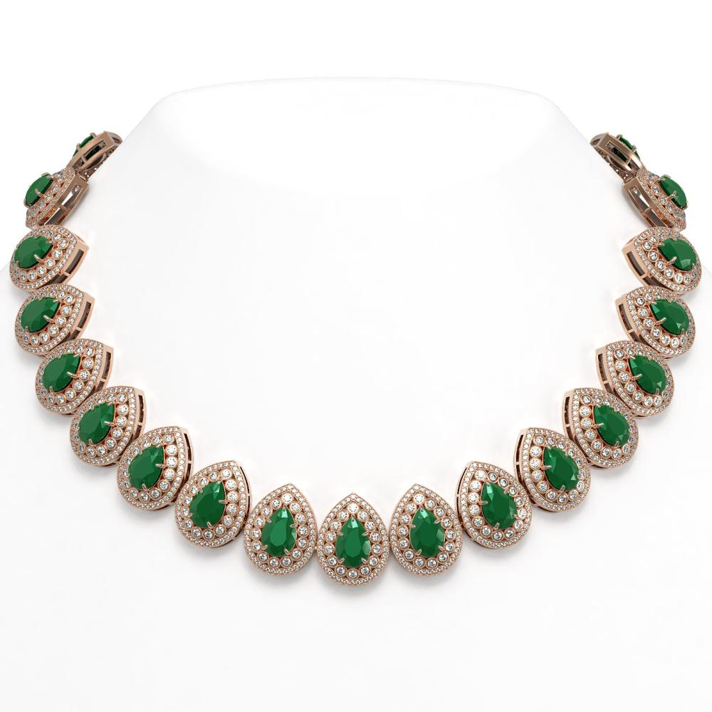 121.42 ctw Emerald & Diamond Necklace 14K Rose Gold - REF-3501M6F - SKU:43227