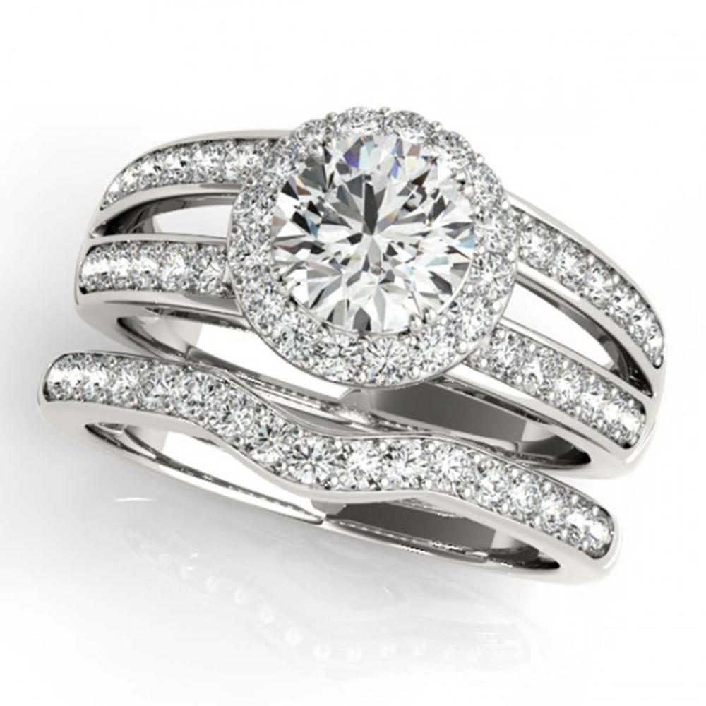 1.91 ctw VS/SI Diamond 2pc Wedding Set Halo 14K White Gold - REF-316K3W - SKU:31232