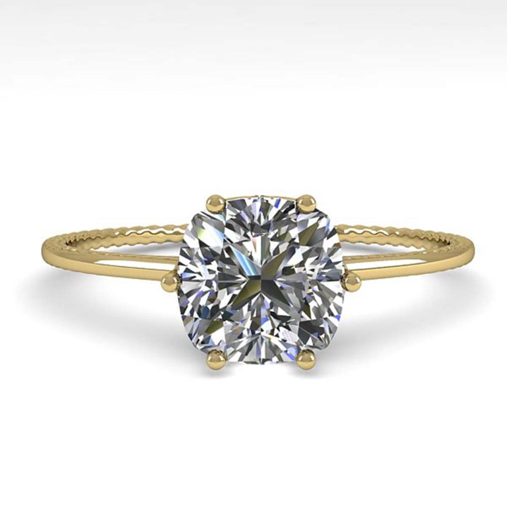1.0 ctw VS/SI Cushion Diamond Ring 18K Yellow Gold - REF-287F4N - SKU:35899