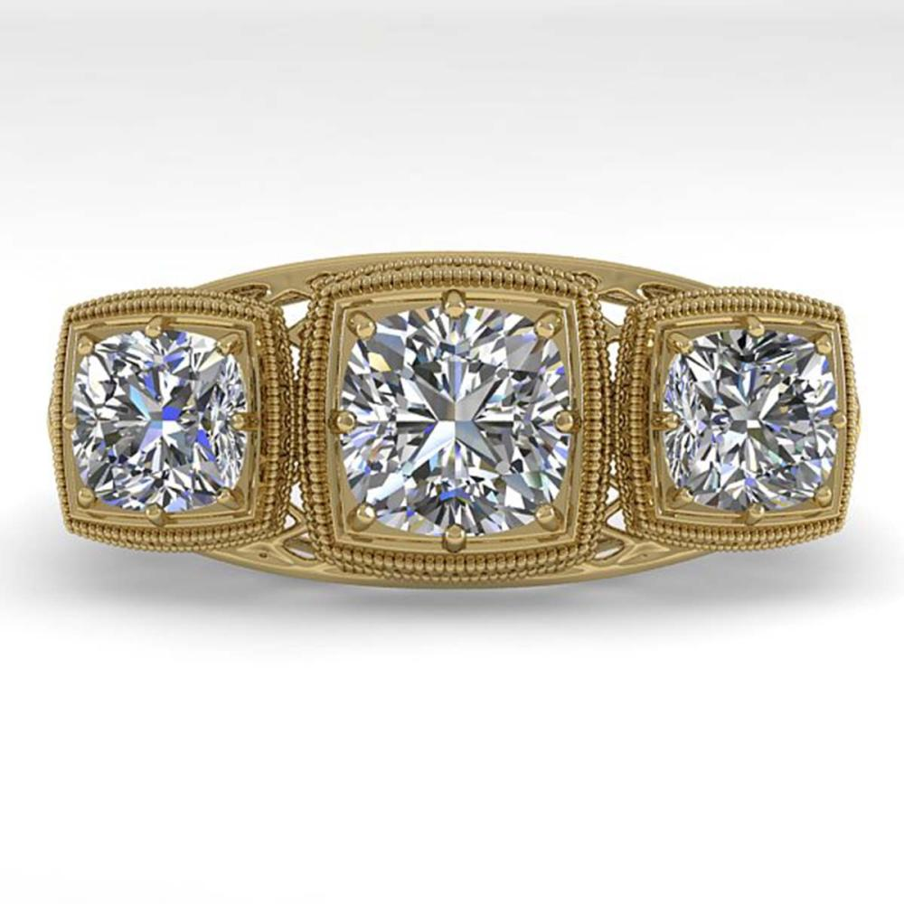 2 ctw Past Present Future VS/SI Cushion Diamond Ring Deco 18K Yellow Gold - REF-481H6M - SKU:36073