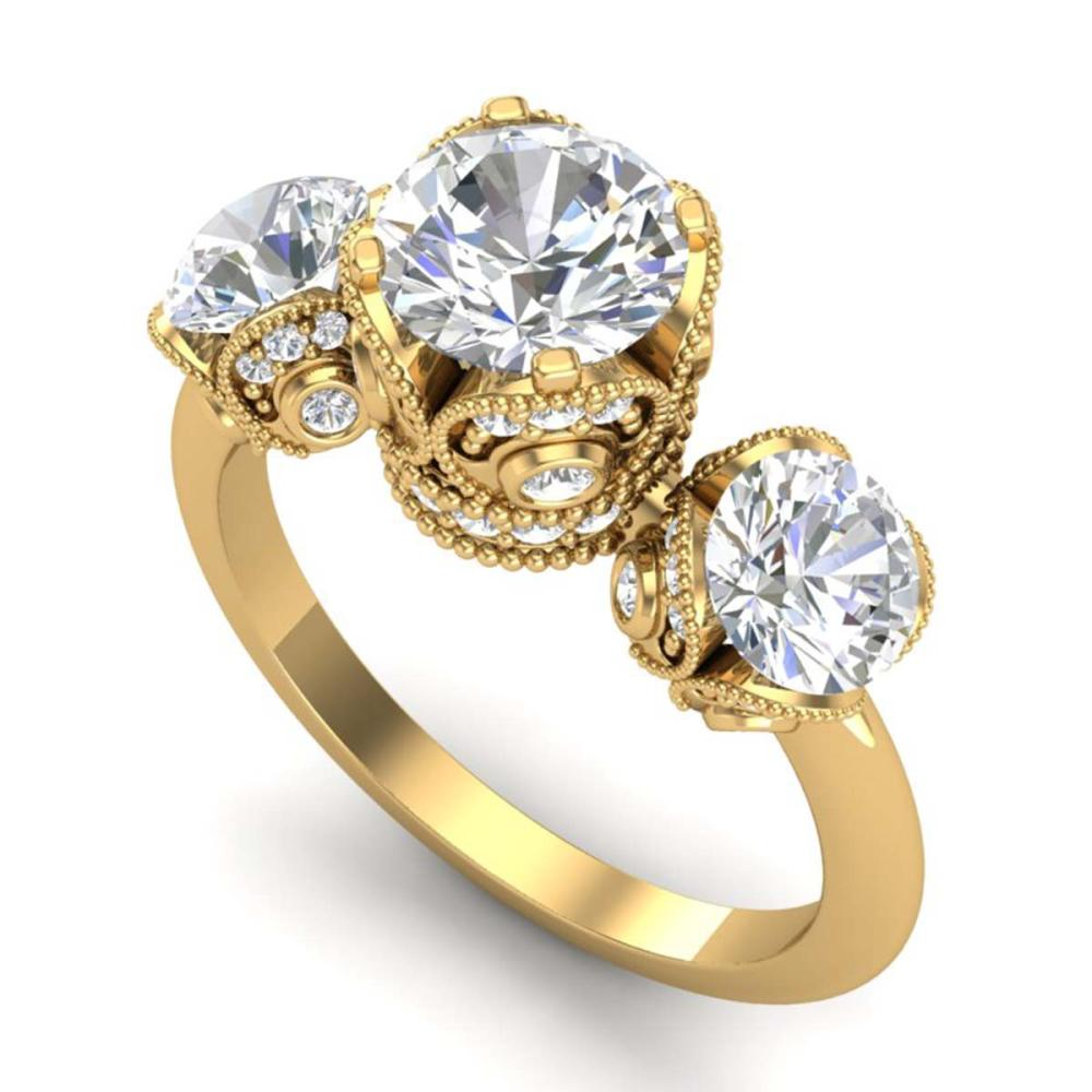 3 ctw VS/SI Diamond Solitaire Art Deco 3 Stone Ring 18K Yellow Gold - REF-649H3M - SKU:36868