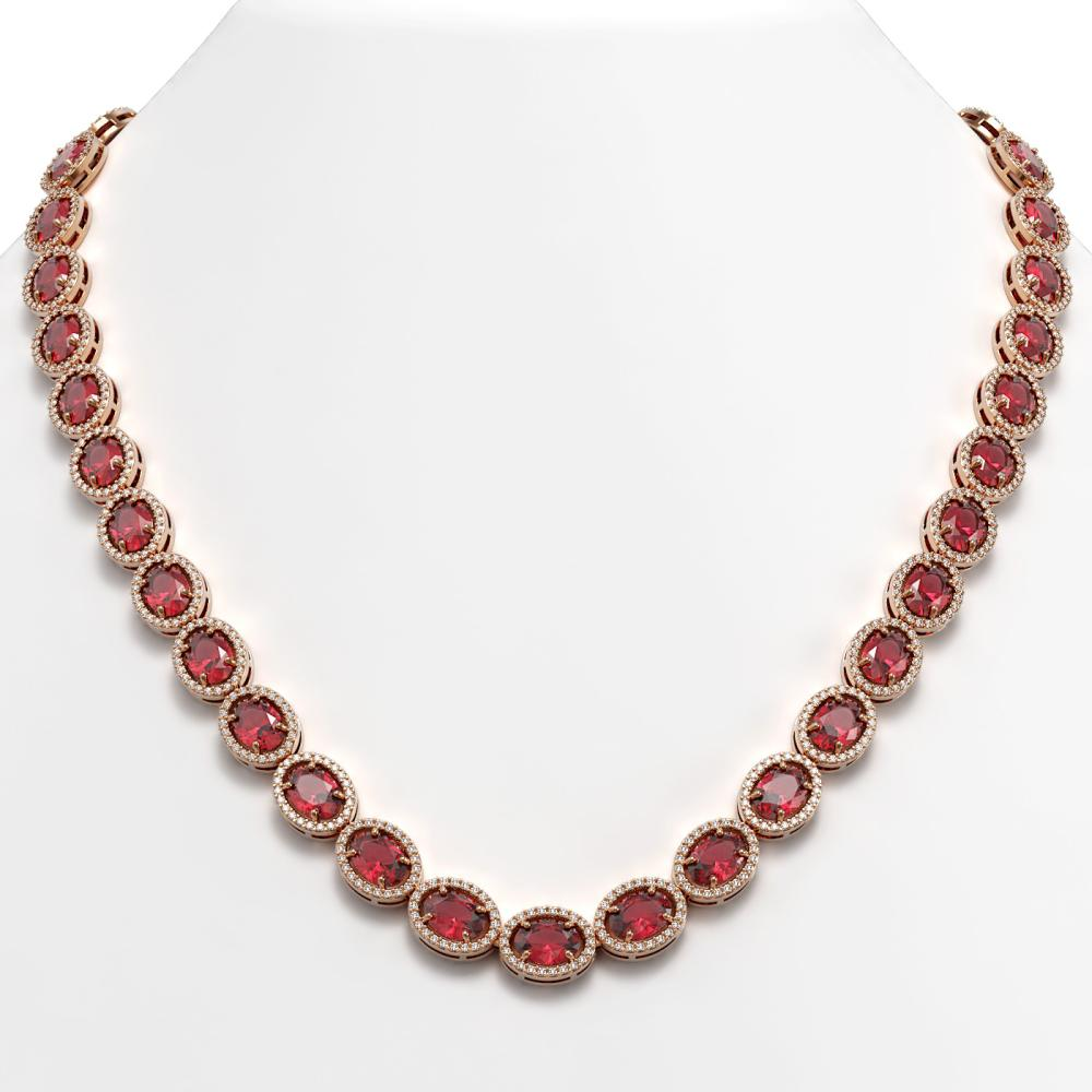 49.46 ctw Tourmaline & Diamond Halo Necklace 10K Rose Gold - REF-763K6W - SKU:40572