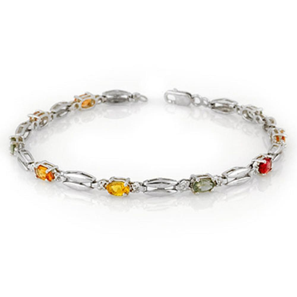 3.0 ctw Multi-Color Sapphire Bracelet 10K White Gold - REF-47W3H - SKU:10708