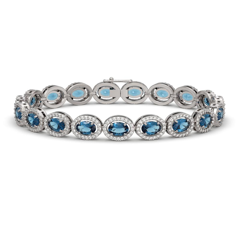 14.82 ctw London Topaz & Diamond Halo Bracelet 10K White Gold - REF-263H6M - SKU:40487