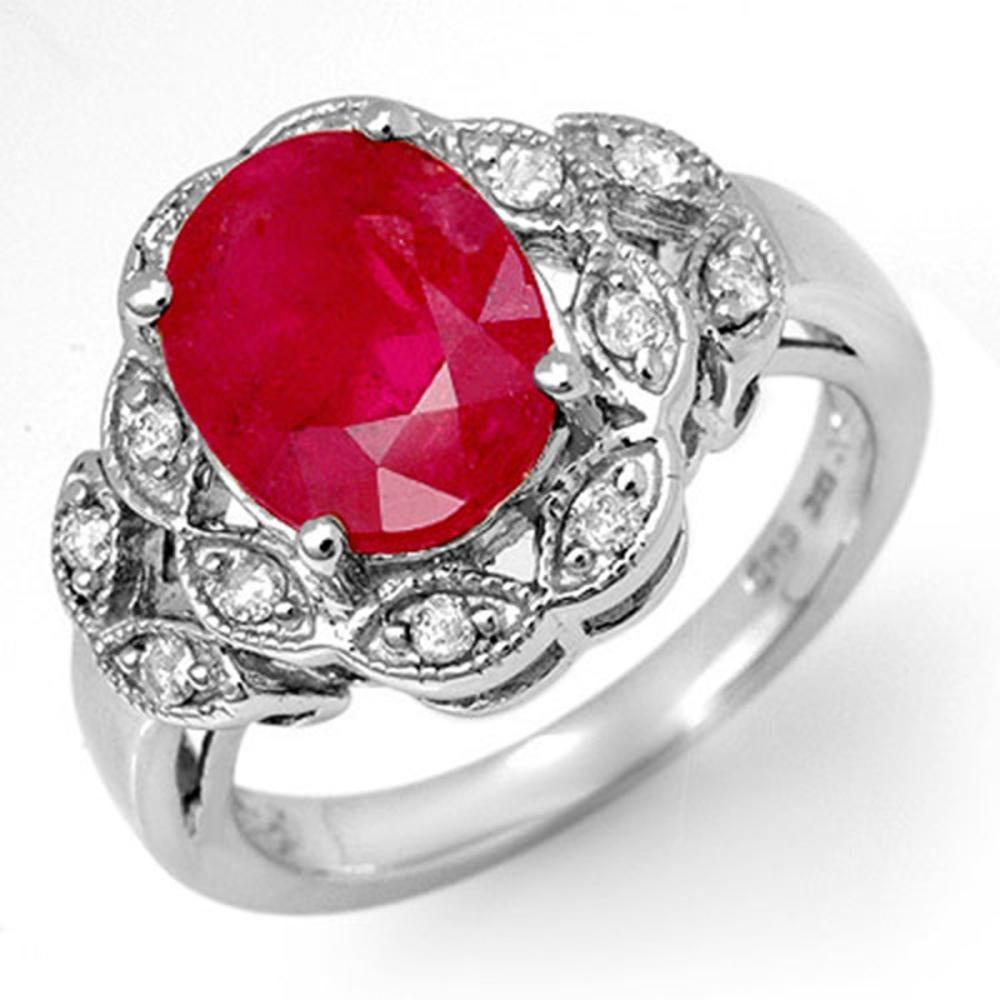 3.50 ctw Ruby & Diamond Ring 10K White Gold - REF-52Y7X - SKU:11908