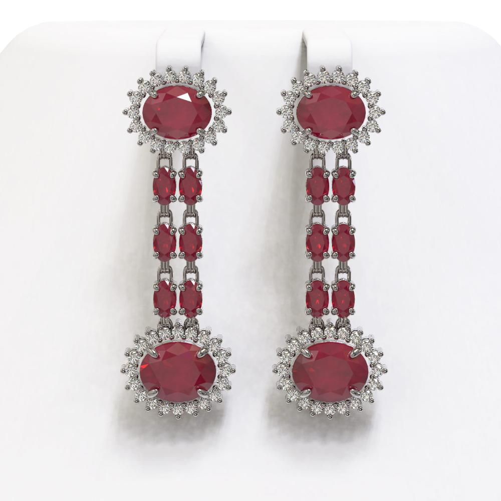 13.28 ctw Ruby & Diamond Earrings 14K White Gold - REF-209K6W - SKU:44456