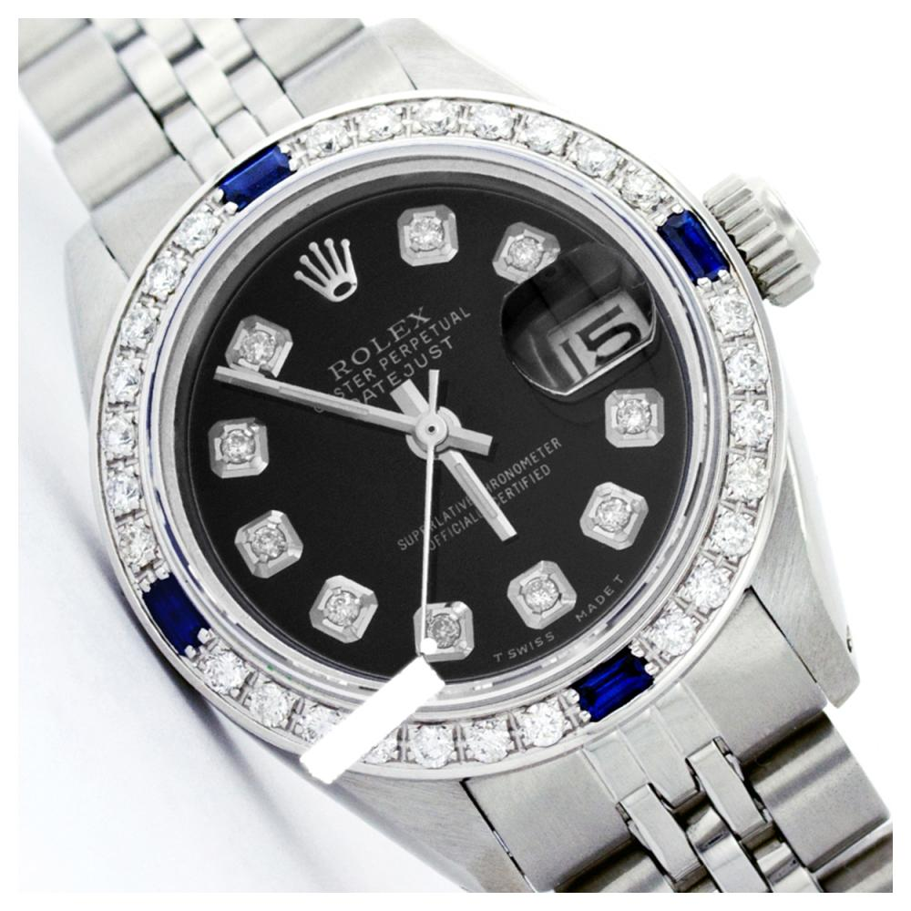 Rolex Ladies Stainless Steel, Diam Dial & Diam/Sapphire Bezel, Sapphire Crystal - REF-426Y2X