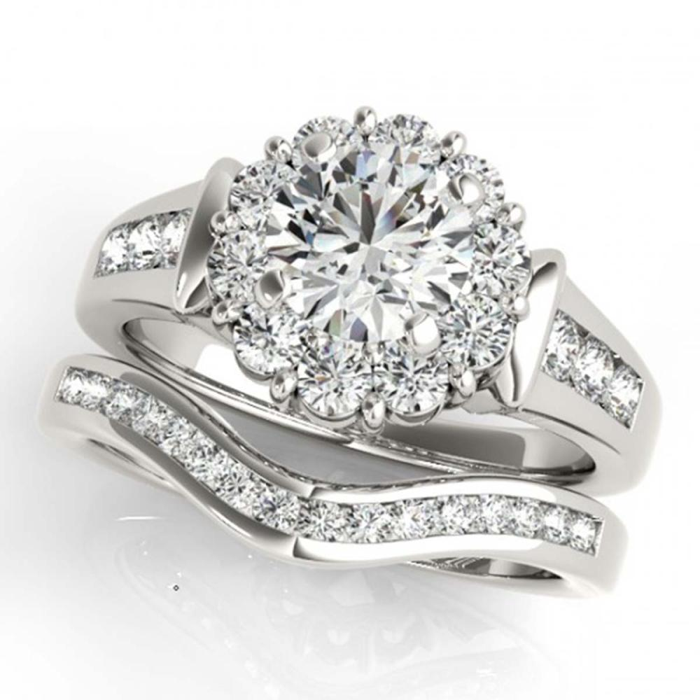 1.86 ctw VS/SI Diamond 2pc Wedding Set Halo 14K White Gold - REF-193X8R - SKU:31247