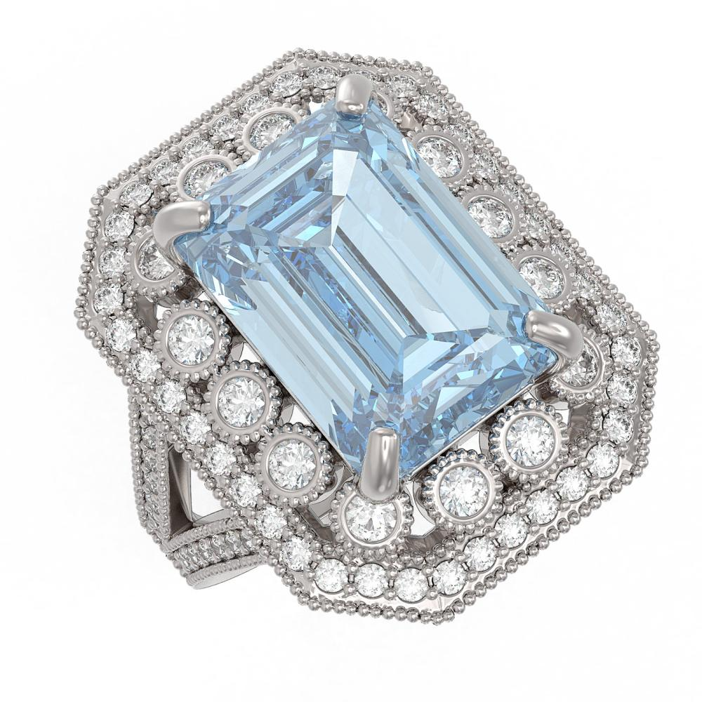 12.49 ctw Sky Topaz & Diamond Ring 14K White Gold - REF-200K5W - SKU:43517