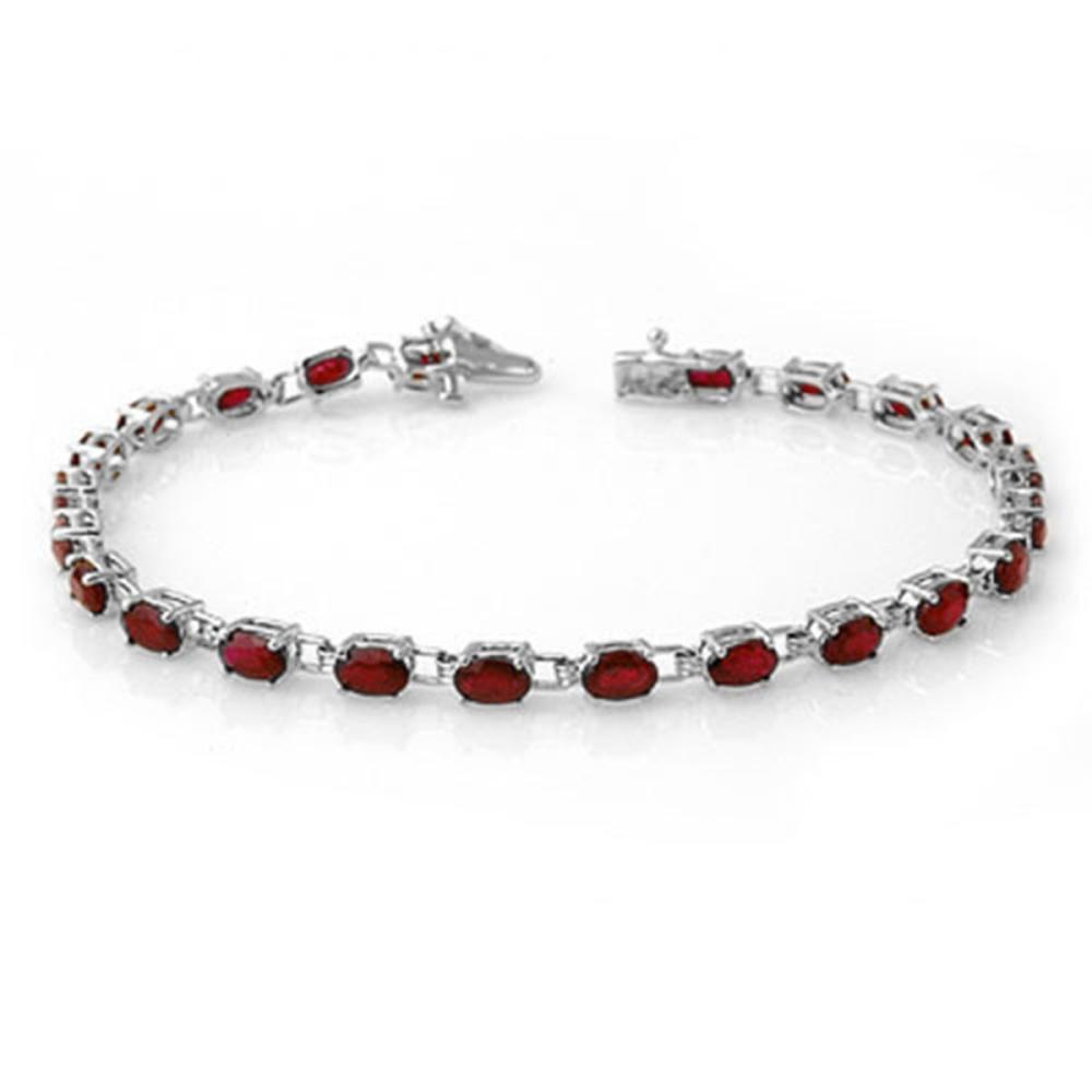 7.0 ctw Ruby Bracelet 14K White Gold - REF-87F3N - SKU:13453