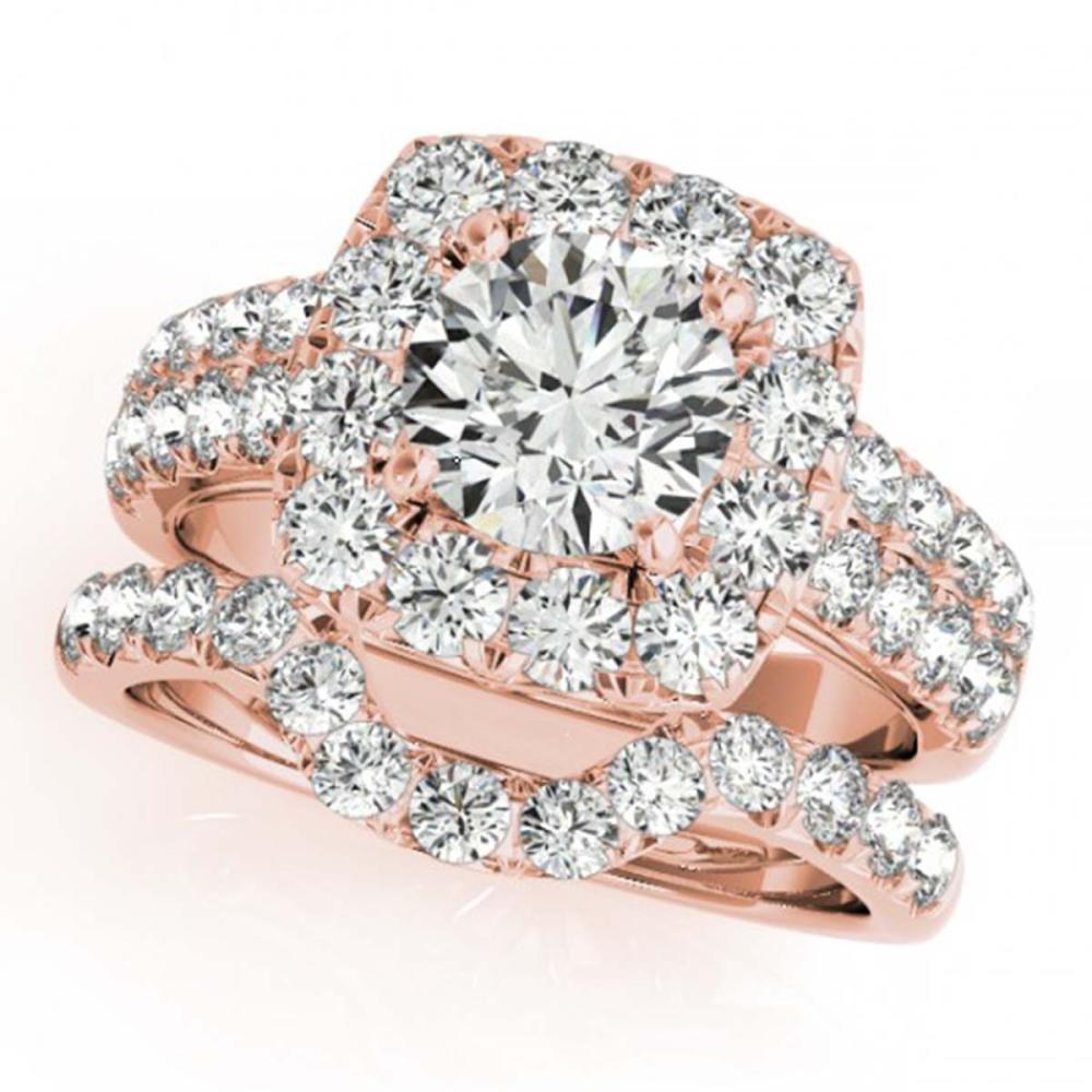 2.51 ctw VS/SI Diamond 2pc Wedding Set Halo 14K Rose Gold - REF-234A5V - SKU:30889