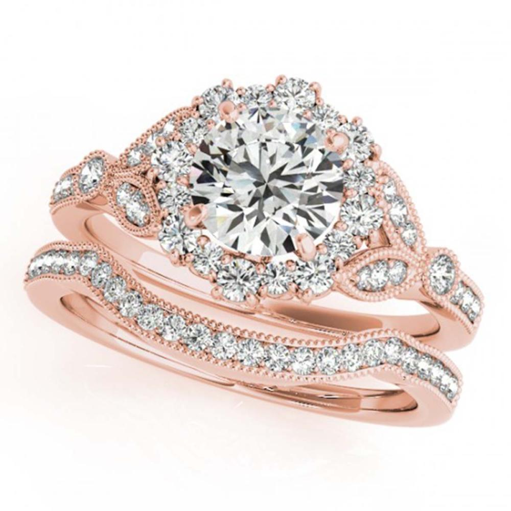1.44 ctw VS/SI Diamond 2pc Wedding Set Halo 14K Rose Gold - REF-169H3M - SKU:30964