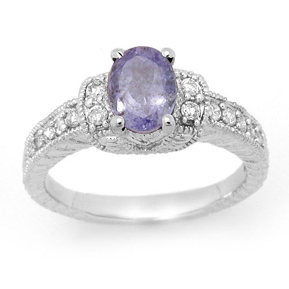 2.0 ctw Tanzanite & Diamond Ring 14K White Gold - REF-63K5W - SKU:14249