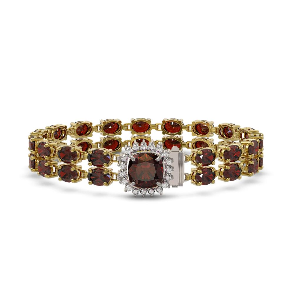 14.98 ctw Garnet & Diamond Bracelet 14K Yellow Gold - REF-169W5H - SKU:45640