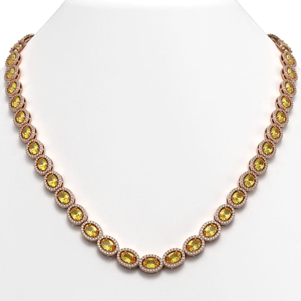 28.52 ctw Fancy Citrine & Diamond Halo Necklace 10K Rose Gold - REF-498H9M - SKU:40443