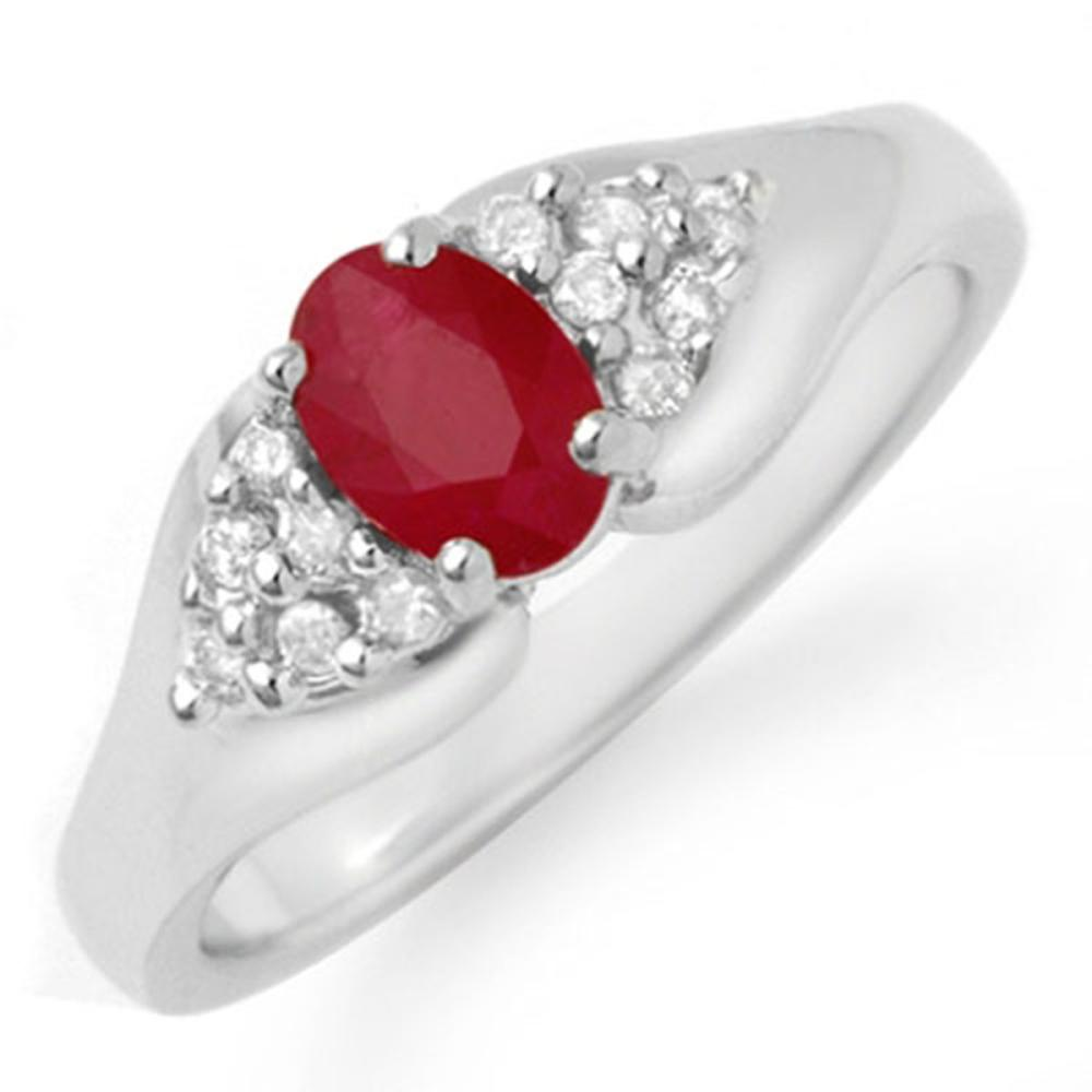 0.83 ctw Ruby & Diamond Ring 14K White Gold - REF-38K2W - SKU:12921