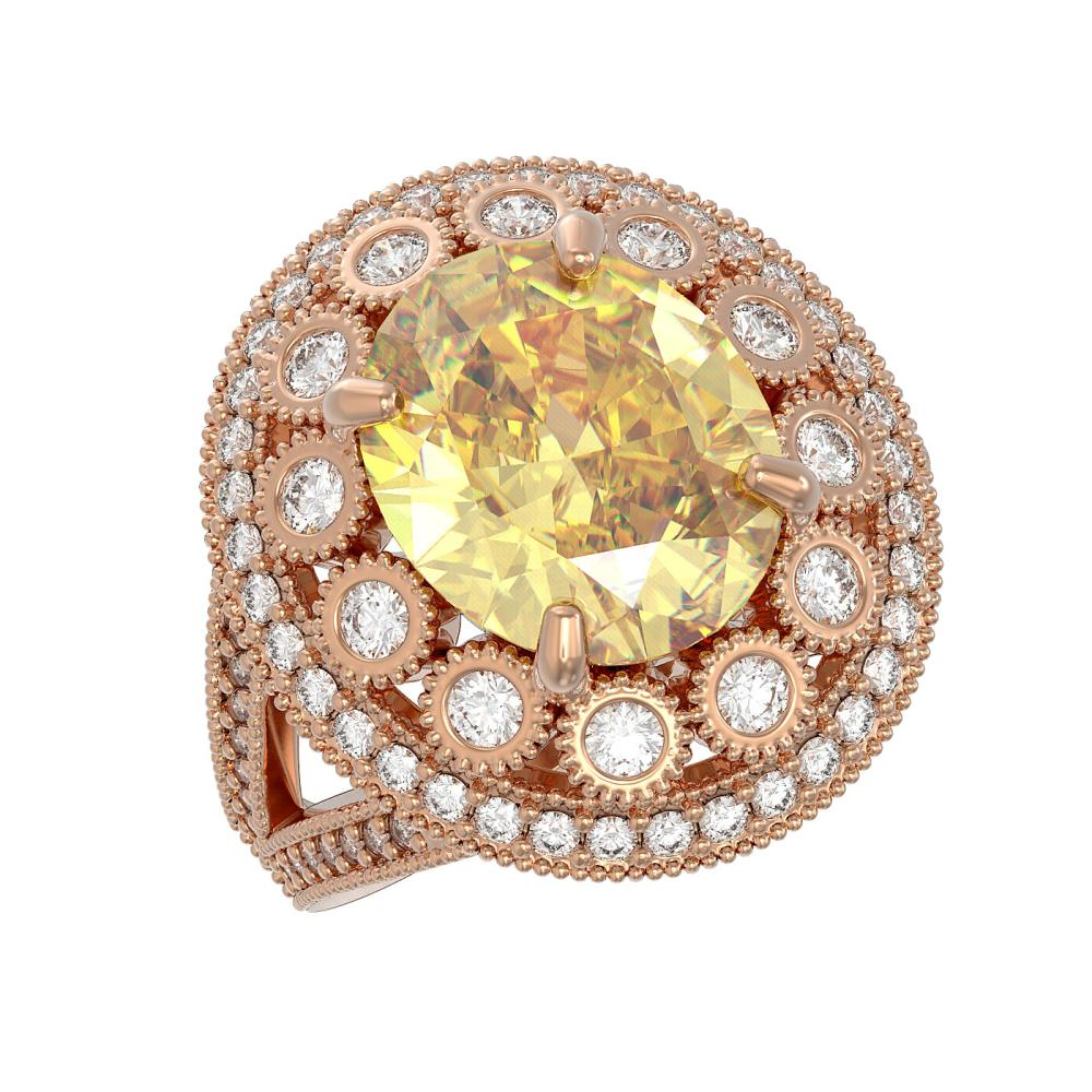 7.87 ctw Canary Citrine & Diamond Ring 14K Rose Gold - REF-170W9H - SKU:43752