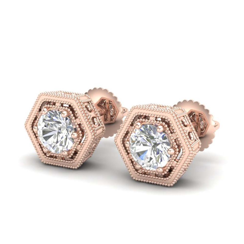 1.07 ctw VS/SI Diamond Solitaire Art Deco Stud Earrings 18K Rose Gold - REF-190A9V - SKU:36900