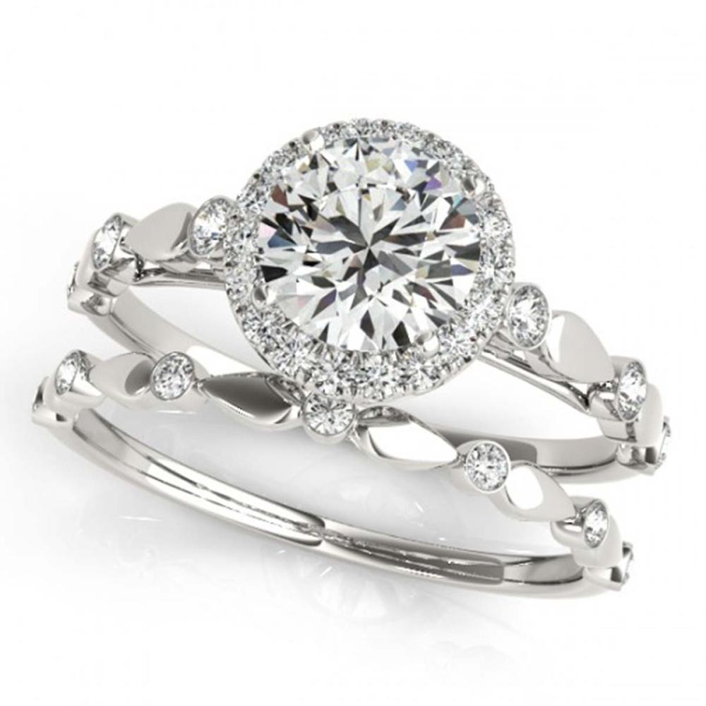 1.36 ctw VS/SI Diamond 2pc Wedding Set Halo 14K White Gold - REF-278K9W - SKU:30861