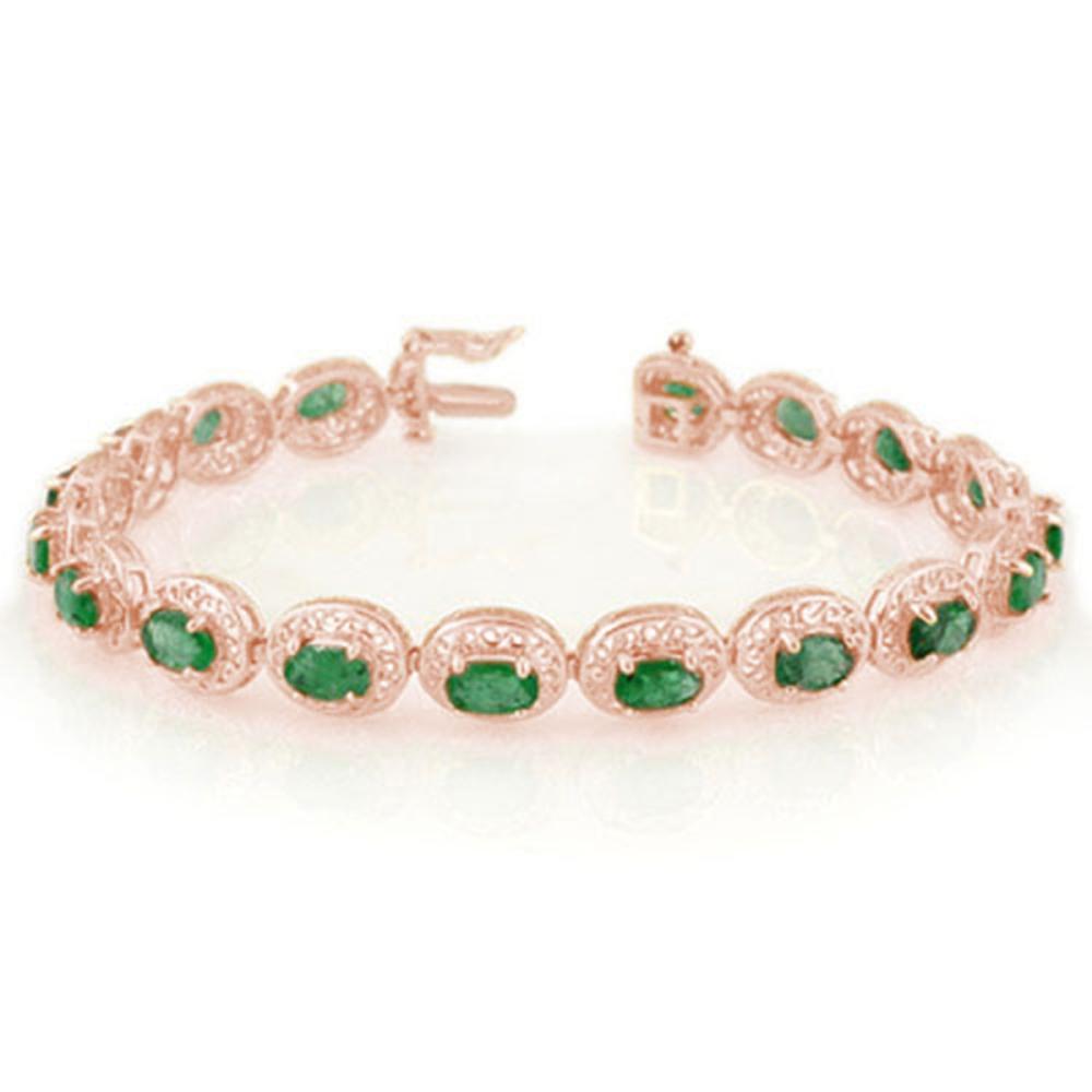 10.0 ctw Emerald Bracelet 14K Rose Gold - REF-150H4M - SKU:11538
