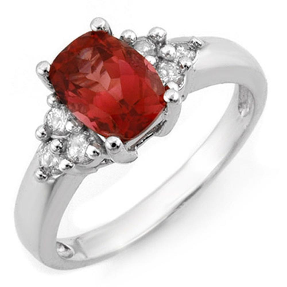 2.11 ctw Pink Tourmaline & Diamond Ring 14K White Gold - REF-56X2R - SKU:11395