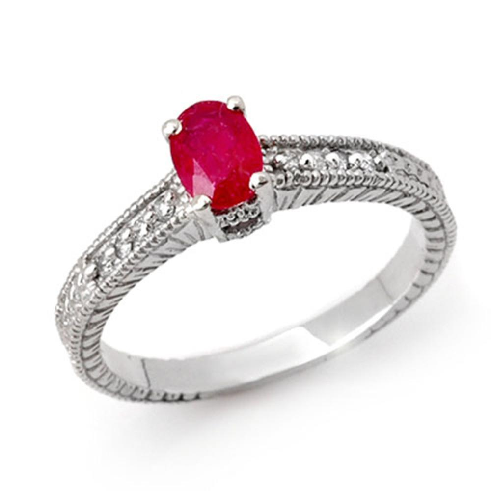 1.01 ctw Ruby & Diamond Ring 18K White Gold - REF-43A6V - SKU:13786