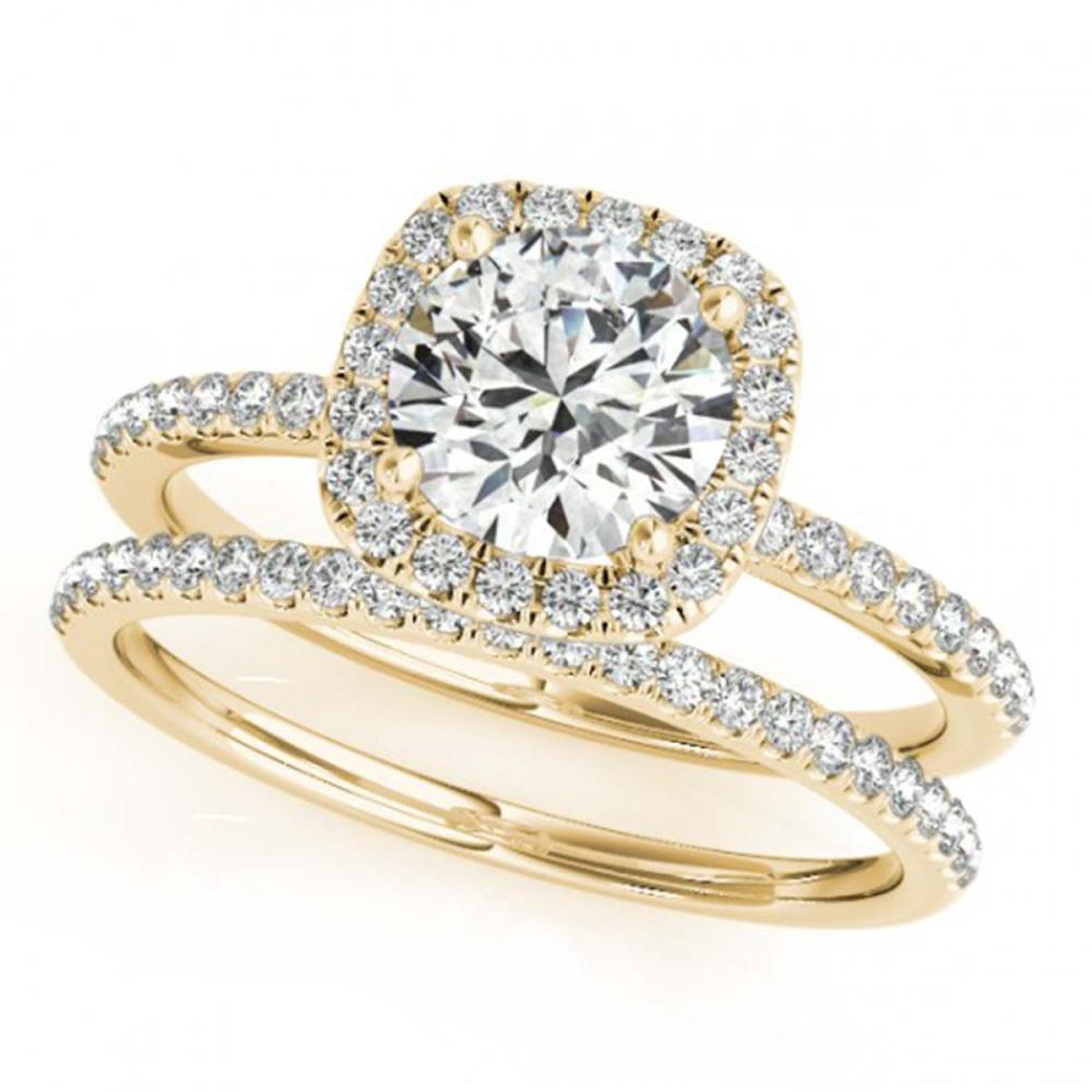 1.70 ctw VS/SI Diamond 2pc Wedding Set Halo 14K Yellow Gold - REF-366K2W - SKU:30665