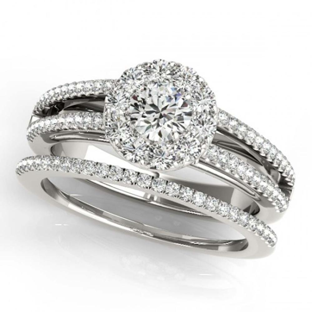 0.89 ctw VS/SI Diamond 2pc Set Solitaire Halo 14K White Gold - REF-90X5R - SKU:31026