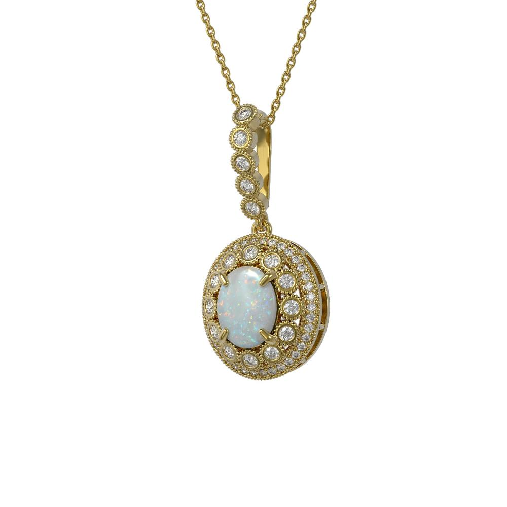 3.9 ctw Opal & Diamond Necklace 14K Yellow Gold - REF-139K8W - SKU:43675