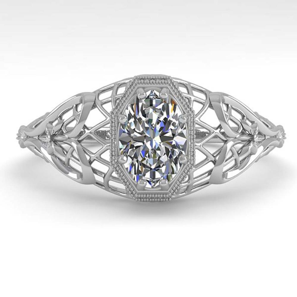 0.50 ctw VS/SI Oval Diamond Ring Deco 18K White Gold - REF-104H7M - SKU:36021