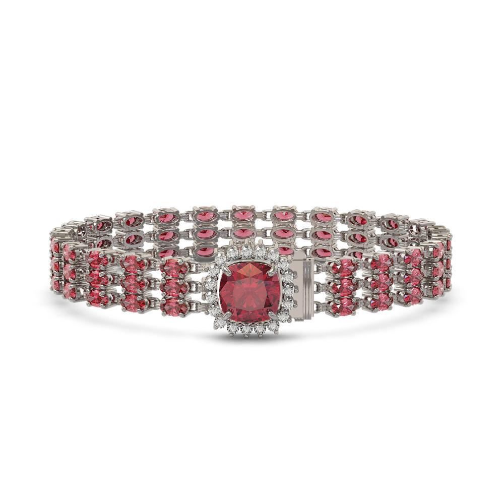 28.56 ctw Tourmaline & Diamond Bracelet 14K White Gold - REF-414X2R - SKU:45896