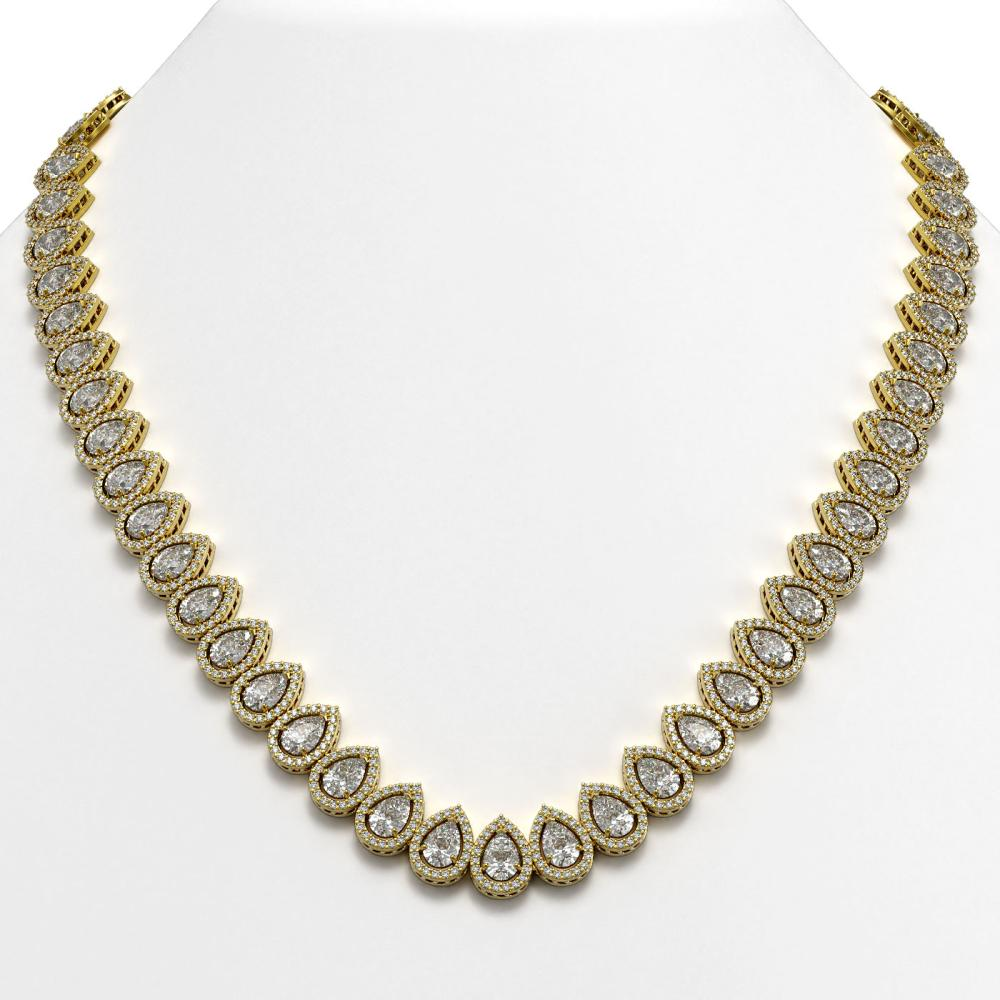 42.11 ctw Pear Diamond Necklace 18K Yellow Gold - REF-5853W8H - SKU:42823