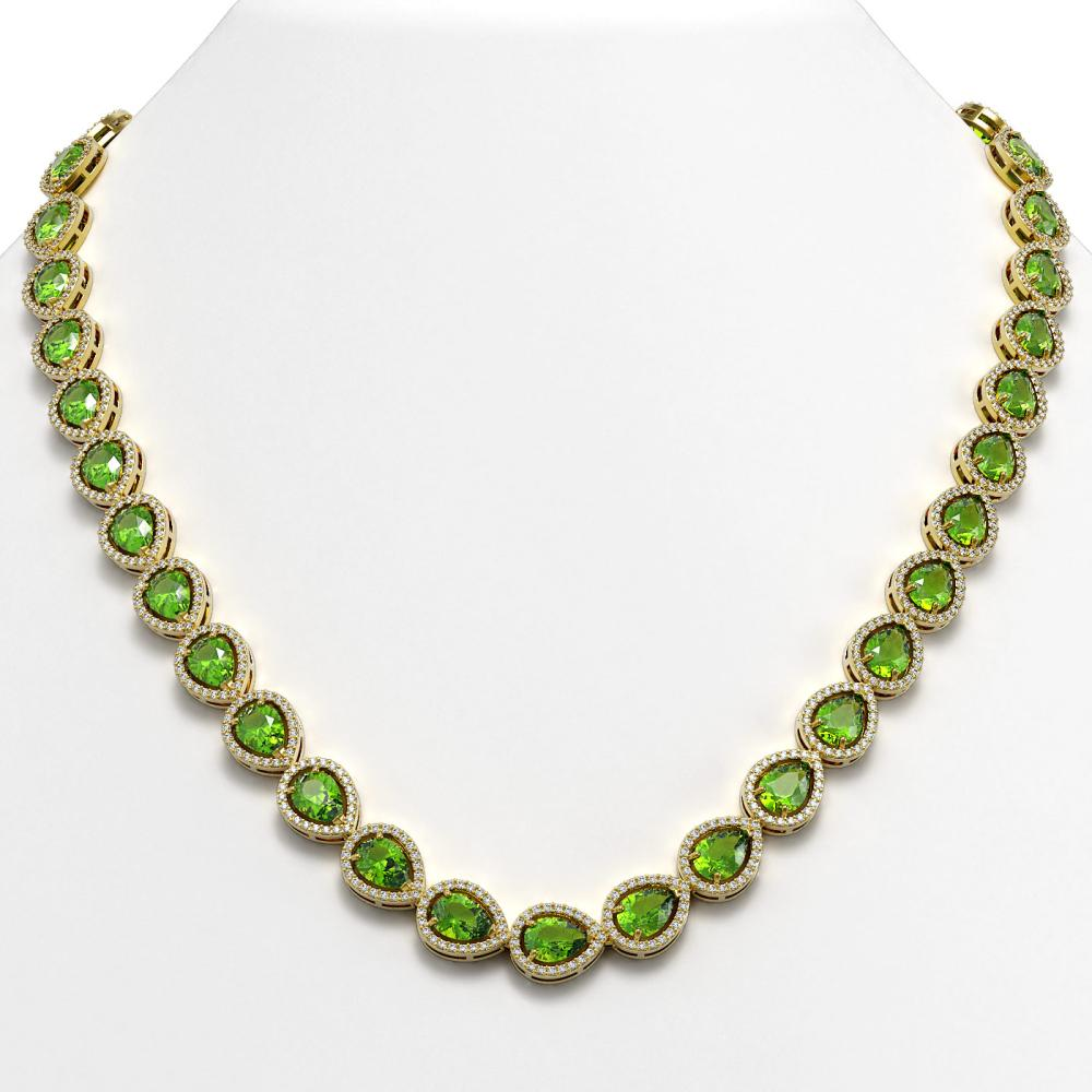 33.35 ctw Peridot & Diamond Halo Necklace 10K Yellow Gold - REF-664H2M - SKU:41071
