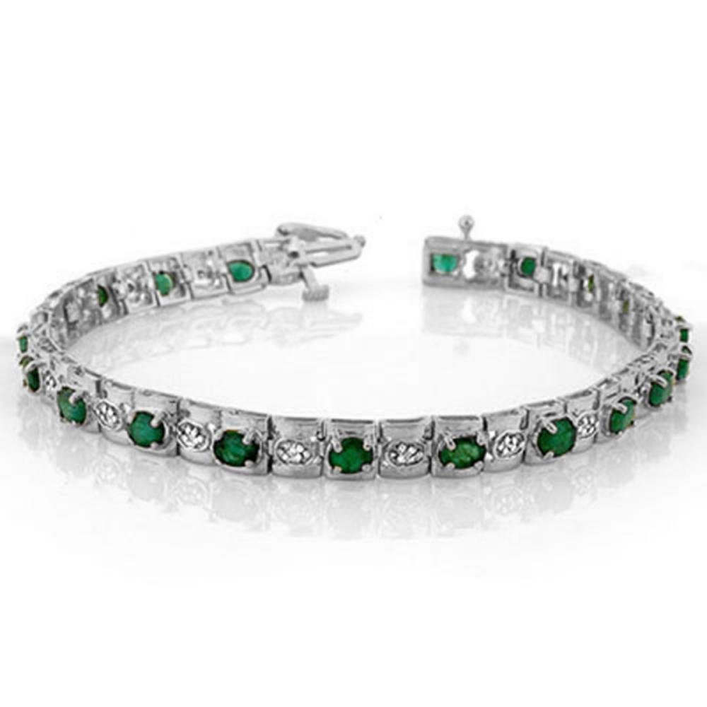 4.09 ctw Emerald & Diamond Bracelet 14K White Gold - REF-118M2F - SKU:10210