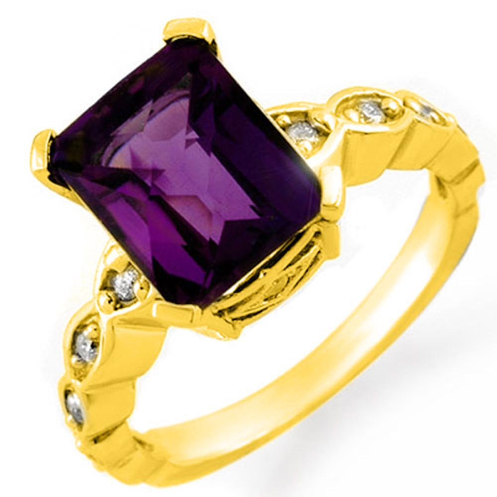 4.25 ctw Amethyst & Diamond Ring 14K Yellow Gold - REF-54F5N - SKU:10412