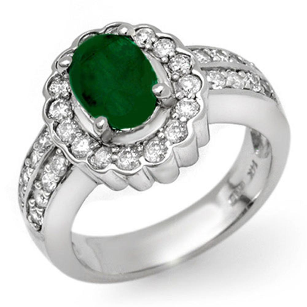 2.25 ctw Emerald & Diamond Ring 14K White Gold - REF-89W3H - SKU:11921