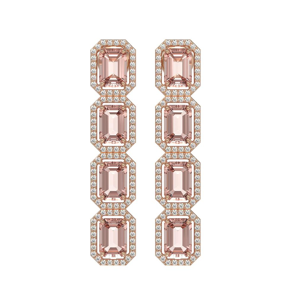 10.73 ctw Morganite & Diamond Halo Earrings 10K Rose Gold - REF-272A5V - SKU:41439