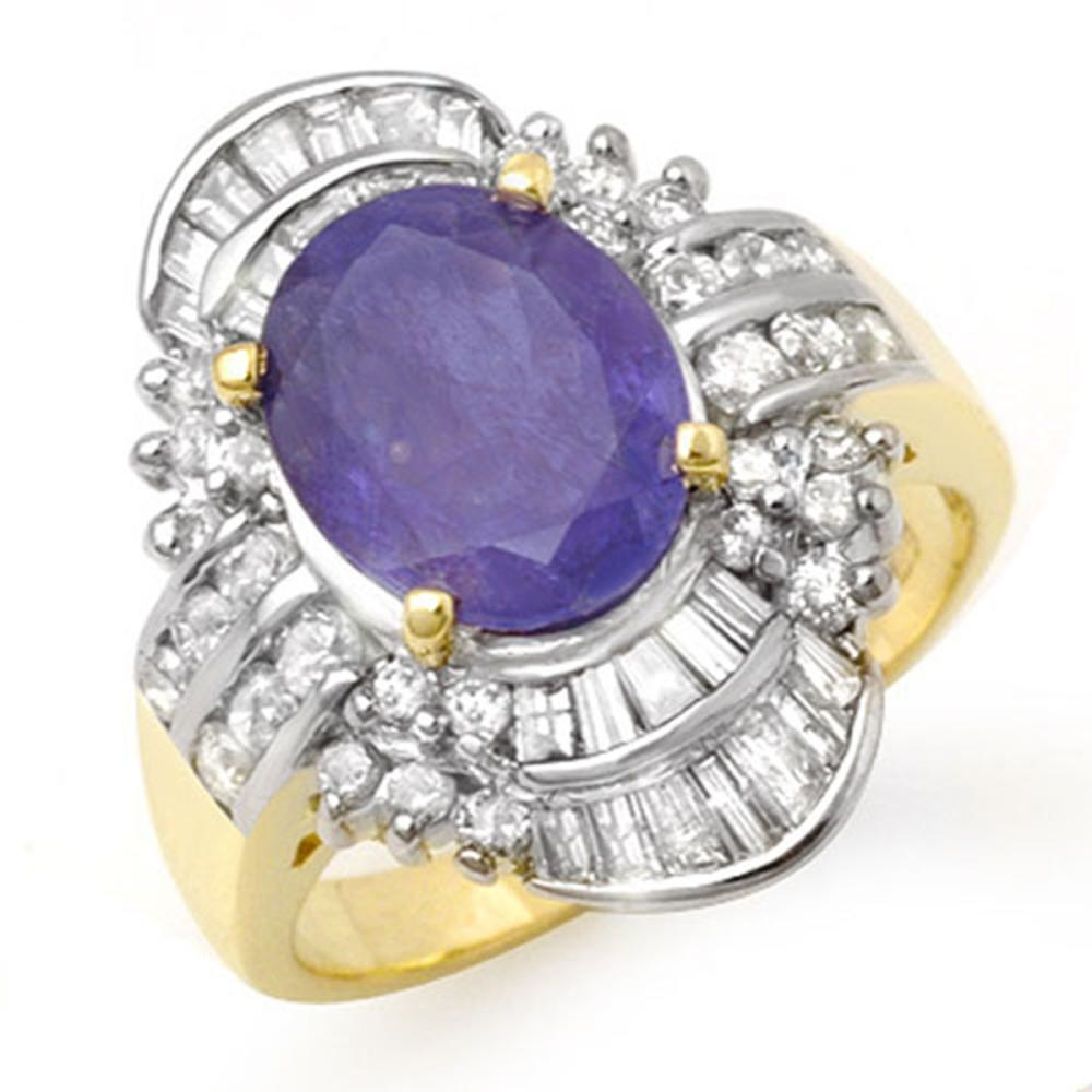 5.20 ctw Tanzanite & Diamond Ring 14K Yellow Gold - REF-187R6K - SKU:14429