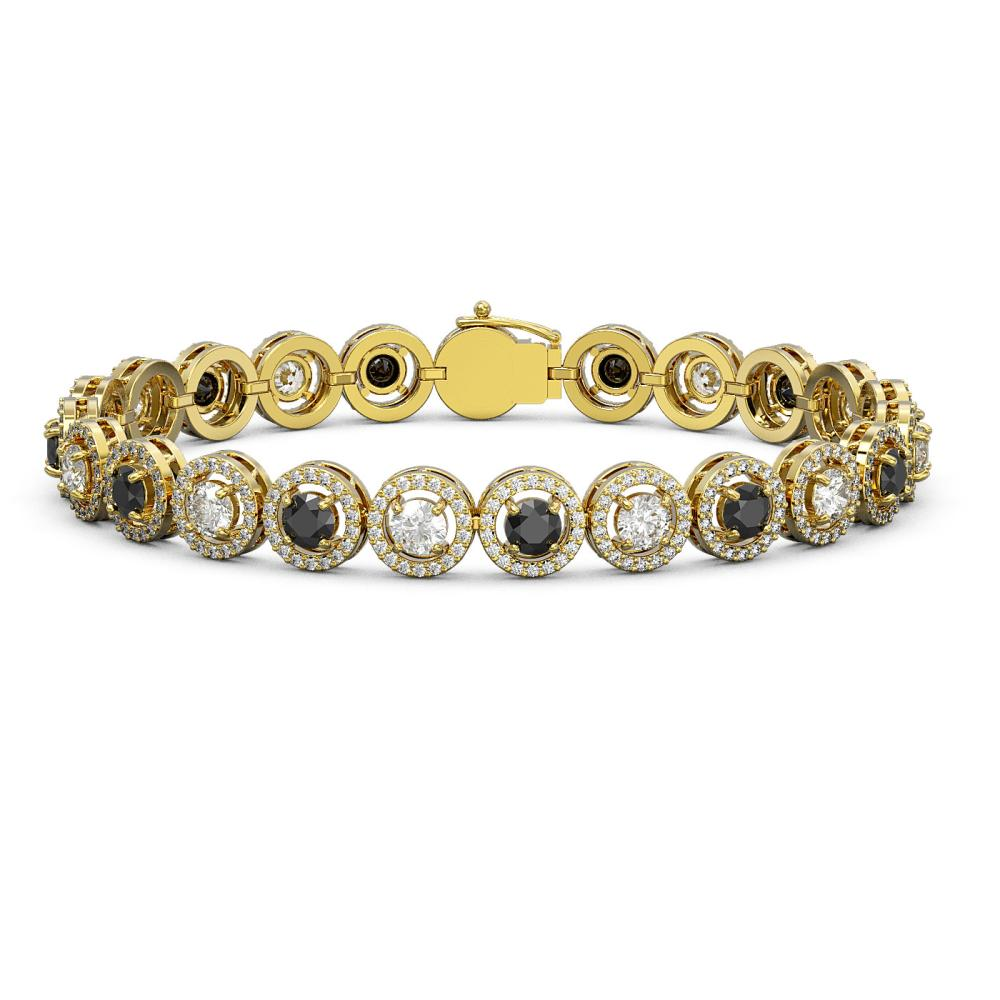 10.39 ctw Black & Diamond Bracelet 18K Yellow Gold - REF-635X6R - SKU:43006