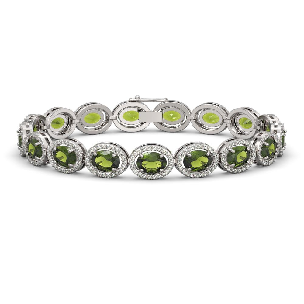 21.71 ctw Tourmaline & Diamond Halo Bracelet 10K White Gold - REF-338W9H - SKU:40622