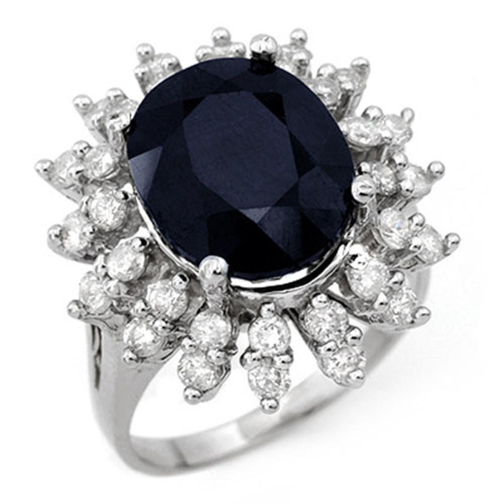 9.85 ctw Blue Sapphire & Diamond Ring 14K White Gold - REF-131K8W - SKU:12831